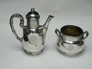 ANTIQUE 1930's FRENCH ART DECO CHRISTOFLE SILVER PLATE COFFEE TEAPOT SUGAR CUP