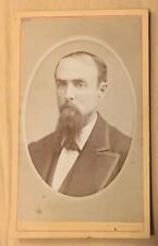 Antique CDV Cabinet Collectible Photo🔶1800s Bearded Man Jackson, MI Photo Clear