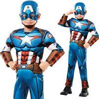 Deluxe Captain America Cosplay Costume Avengers Masquerade Kids Boys Fancy Dress