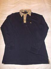 "Burberry London Polo Camiseta L/S-Azul-Tamaño Mediano (40"" pecho)"