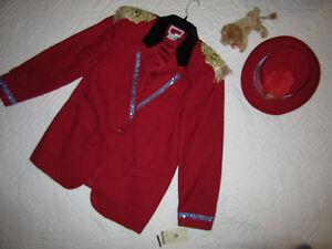 CIRCUS ringmaster red jacket COSTUME size 12 cosplay fantasy hat Mardi Gras