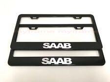(2PCS) SAAB BLACK Metal License Plate Frame with Screw Caps