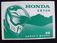 GENUINE 1998 HONDA 70 XR70R DIRT BIKE MOTORCYCLE OPERATORS MANUAL VERY GOOD