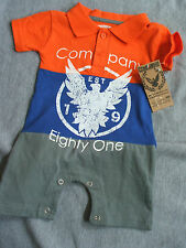 Company 81 Baby Boy 3-6 Months Summer Outfit Romper NWT Blue Orange Grey So Cute