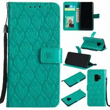 Green 3D Rattan Premium PU Leather case cover strap fr Samsung S9 LG Huawei Sony