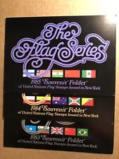 1983, 1984, 1985 UNITED NATIONS FLAG SOUVENIR FOLDERS WITH STAMPS