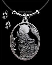 """MOON SONG HOWLING WOLF NECKLACE DIAMOND CUT WOLVES EAGLE FEATHER FREE SHIP 24""""L"""