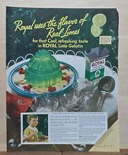 1936 magazine ad for Royal Lime Gelatin - jello mold, Flavor of Real limes