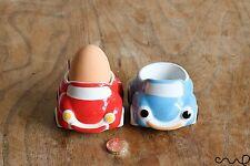 2 x Handmade Ceramic Egg Cups Holder Red/Blue Car Kitchen Breakfast Novelty Gift