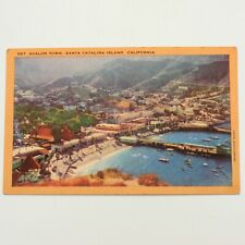 Avalon Town Santa Catalina Island CA Aerial View Vintage Linen Postcard