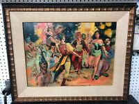 Original Oil Painting Signed Framed On Board Party Scene Colorful Vintage 24x18""