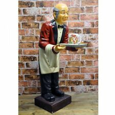 Resin Red Poly Butler Waiter Statue with Tray Kitchen Bar Decor Sculpture 90cm