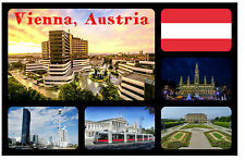 VIENNA, AUSTRIA - SOUVENIR NOVELTY FRIDGE MAGNET - SIGHTS & FLAG - NEW/GIFT