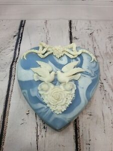 Incolay Stone Box Blue Heart Shaped Made In USA 6x6x3
