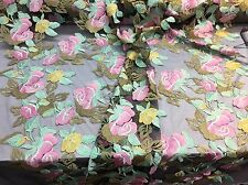 PINK FRENCH FLOWER GARDEN EMBROIDER WITH MULTI COLORS ON A BLACK MESH-BY YARD