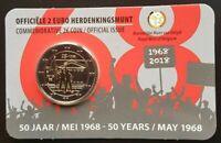Coincard 2 EURO 50 ans mai 68 BELGIQUE 2018 version NL coin-card mai 1968