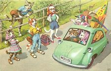 Vintage Mainzer Dressed Cats Postcard: 4729, Cats Hitch hiking, Tiny Car is Full