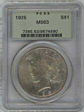 1925 90% SILVER PCGS-63 PEACE DOLLAR ~  OGH ~ 1c Start ~ Free Shipping