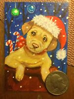 ACEO dog art pup Christmas fantasy expressionism funny realism outsider folk