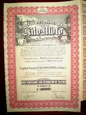 Mines d´Or Kilo-Moto ,Gold Mining  Congo stock certificate 1940   VG/F