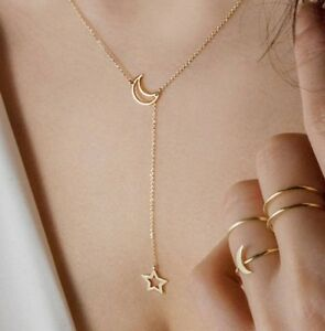 Simple Moon & Star Gold Necklace Chain Pendant Alloy Sun Boho Night UK 3 FOR 2