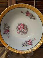 Vintage Lusterware Floral Serving Bowl Iridescent Scalloped Peach Rim Japan