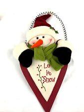 Wooden Snowman Decorative Hanging Let It Snow Winter Christmas Wall Door Decor