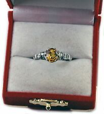 Antique 1920's Genuine Yellow CANARY Sapphire Platinum Diamonds Engagement Ring