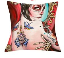 Horror Undead Day Of The Dead Throw Pillow Case Punk Tattoo Pinup Rockabilly
