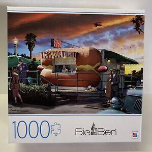 "Big Ben Milton Bradley 1000pc Jigsaw Puzzle Hot Diggity Dog 27""x20"" #6056424"