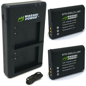 Wasabi Power Battery (2-Pack) and Micro USB Dual Charger for Nikon EN-EL23