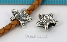 1x OXIDIZED STERLING SILVER STAR FISH BEAD EUROPEAN CHARM BRACELET SPACER #1496