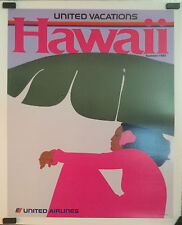 """United Airlines vintage advertising poster """"Hawaii"""" summer 1985"""