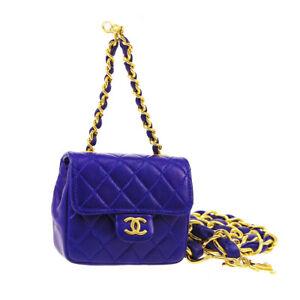 CHANEL Classic Flap Micro Bum Belt Bag Purse Blue Leather 02669