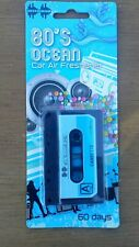 Car Air Freshener. Retro 80's cassette tape. Ocean Scent. Hanging type. 60 days.