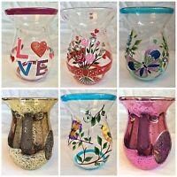 14cm Glass Wax Melt Oil Burners - Various designs inc metallic and hand painted