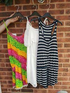 Bundle of 3 Summer Playsuits White Multicoloured Navy Pom Pom Shorts size 10/12