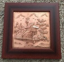 """Etched Engraved Hammered Tooled Copper 8 1/2"""" Asian Building Art Picture"""
