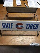 Vintage Metal GULF  Oil Tire Rack Gasoline Advertising Display