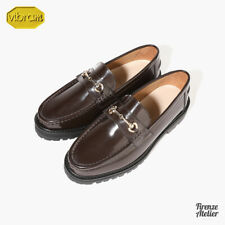 Firenze Atelier Men's Polished Brown Leather Horse Bit Loafers /W Vibram Sole
