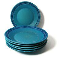 "VTG 60's Ceramano Pottery 5 Salad Dessert Plates 8 1/2"" Blue Sapphire W Germany"