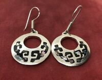Vintage Sterling Silver Earrings 925 Shell Drop Dangle Taxco Mexico Hoops