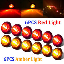 12X Amber Red Small Round Side Marker lights 3 LED Button lamps lorry 12V 3/4""