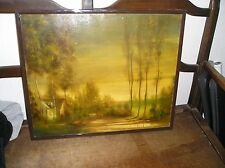 tableau chaumière dans les bois