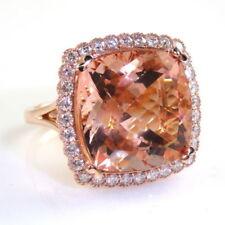 Anillos de joyería con gemas naturales de oro rosa morganita