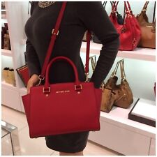 🌺Michael Kors -100% SELMA Saffiano Leather Red - Large Boxed 🌺
