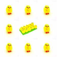 12 Plush Mini Yellow Chicks Bonnet Hat Craft Kids Easter Egg Hamper Decorations