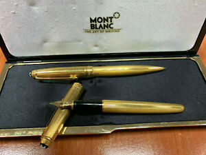 Montblanc Meisterstuck Solitaire Ballpoint and Fountain Pen Set (Gold Color)