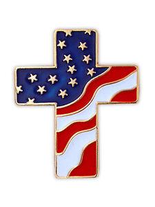 PinMart's American Flag Patriotic Cross Religious Jewelry Enamel Lapel Pin