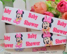 "BTY Printed 7/8"" Minnie Baby Shower Girl Grosgrain Ribbon Hair Bows Lisa"